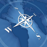 Compass rose. On background of world map Stock Photo