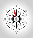 Compass rose. Black compass rose on gray background Royalty Free Stock Photography