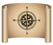 Compass. Rose on curl banner Royalty Free Stock Photos