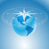 Compass rose and globe Stock Images