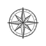 Compass rose isolated on white background. Vector vintage engraving illustration. Stock Photo