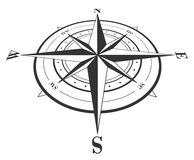 Compass rose isolated on white. Royalty Free Stock Photos