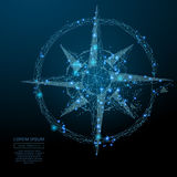 Compass rose low poly blue. Abstract image of a compass rose in the form of a starry sky or space, consisting of points, lines, and shapes in the form of planets royalty free illustration
