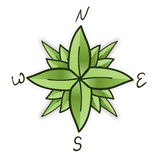 Compass rose made of green leaves Stock Images