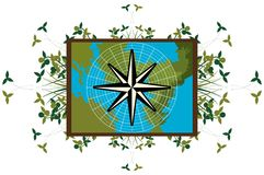 Compass rose on a map with decoration  Royalty Free Stock Photo