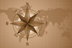 Compass Rose on map world Royalty Free Stock Photo