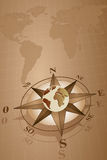 Compass Rose and map world Royalty Free Stock Photos