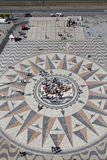 The compass rose and mappa mundi of Padrao dos Descobrimentos Stock Photo