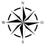 Compass rose for marine or nautical navigation and maps on a isolated white background as vector. Compass rose for marine or nautical navigation and geographic Royalty Free Stock Photography