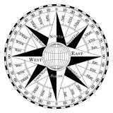 Compass rose for marine or nautical navigation and maps on a isolated white background as vector. Compass rose for marine or nautical navigation and geographic Stock Photography