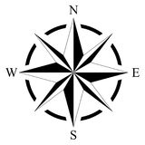 Compass rose for marine or nautical navigation and maps on a isolated white background as vector royalty free illustration