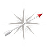 Compass rose with metal arrow Royalty Free Stock Image