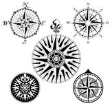 Compass Rose Set. A set of five high detail antique windroses vector Illustrations Royalty Free Stock Photos
