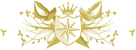 Compass rose on shield with swords isolated Stock Photos