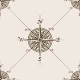 Compass rose sketch style seamless pattern vector Stock Photo