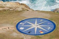Compass Rose at the Tower of Hercules in La Coruna Stock Photo