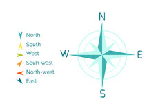 Compass Rose Vector Illustration in Flat Design. Compass rose vector. Flat design. Cartographic symbol with cardinal directions and intermediate points names Royalty Free Stock Photos
