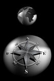 Compass Rose and world globe Royalty Free Stock Photo