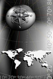 Compass Rose and world map. World map with compass rose, black and silver tones Royalty Free Stock Photography