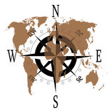 Compass rose with world map. Compass rose with transparent world map Stock Photo