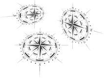 Compass roses in perspective Royalty Free Stock Photos