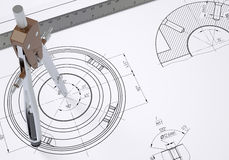 Compass and ruler on the drawing Stock Photos