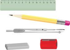 Compass ruler pencil sharpener eraser. Vector drawing of school supplies compass ruler pencil sharpener eraser Royalty Free Stock Photos