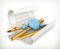 Compass ruler and pencil Royalty Free Stock Image