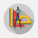 Compass and rulers icons with long shadow on gray background Stock Photo