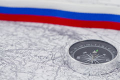 Compass and Russian tricolor Royalty Free Stock Image