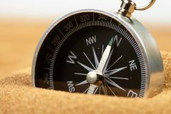 Compass in sand Royalty Free Stock Photography