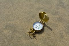 Compass and sand Royalty Free Stock Image