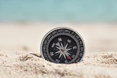 Compass on sand Royalty Free Stock Image