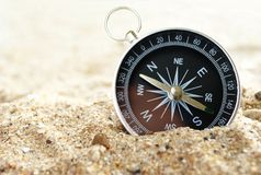 Compass on the sea sand Royalty Free Stock Images