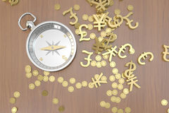 Compass in search of gold. A  compass in search of gold on white background, financial concept Royalty Free Stock Photos