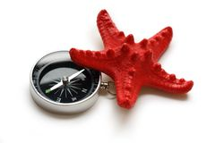 Compass and seastar Stock Photo