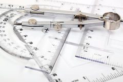 Compass and set of rulers Royalty Free Stock Images