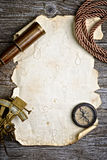 Compass,sextant and spyglass on the timber Stock Photography