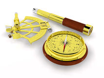 Compass, Sextant and Telescope stock image