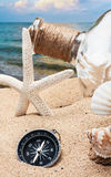 Compass and shells Stock Image