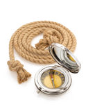 Compass and ship rope on white Stock Photography