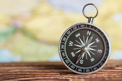 Compass showing the direction. On a map Stock Photography