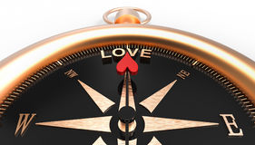 Compass showing direction to love 3d Illustration concept. On white background Stock Photography