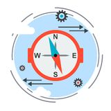 Compass sign, guide icon, strategy choice concept Royalty Free Stock Images