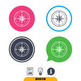 Compass sign icon. Windrose navigation symbol. Stock Photography