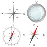 Compass in silver color in part vector illustration Stock Photography