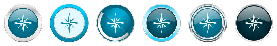 Compass silver metallic chrome border icons in 6 options, set of web blue round buttons isolated on white background stock images