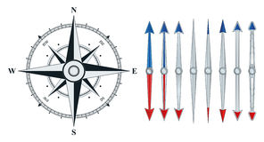 Compass with similar arrows isolated Royalty Free Stock Photos