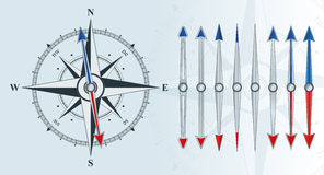 Compass with similar arrows Royalty Free Stock Images