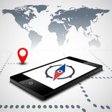 Compass on the smartphone Royalty Free Stock Images